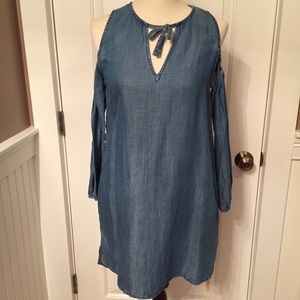 ⭐️BLANK NYC NEW DRESS MINI BLUE COLD SHOULDER S